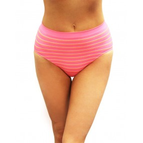 High Waist Pinstripe Seamless Hi-Cut Brief-4pk